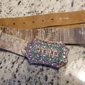 Colorful rhinestones belt buckle/ leather belt